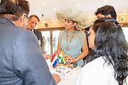 """Zijne Majesteit Koning Willem-Alexander en Hare Majesteit Koningin Máxima brengen op uitnodiging van president Ram Nath Kovind een staatsbezoek aan de Republiek India.<br /> <br /> His Majesty King Willem-Alexander and Her Majesty Queen Máxima on a state visit to the Republic of India at the invitation of President Ram Nath Kovind.<br /> <br /> Op de foto / On the photo: Bezoek aan Chhaprati Shivaji museum met opening India & the Netherlands in the Age of Rembrandt"""""""