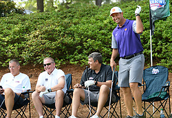 Uconn head football coach Randy Edsall, Notre Dame head football coach Brian Kelly, Ole Miss head football coach Matt Luke and Clemson  head football coach Dabo Swinney during the Chick-fil-A Peach Bowl Challenge Closest to the Pin Skills Competition at the Ritz Carlton Reynolds, Lake Oconee, on Monday, April 29, 2019, in Greensboro, GA. (Dale Zanine via Abell Images for Chick-fil-A Peach Bowl Challenge)