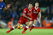 Philippe Coutinho of Liverpool in action. Premier League match, Liverpool v Chelsea at the Anfield stadium in Liverpool, Merseyside on Saturday 25th November 2017.<br /> pic by Chris Stading, Andrew Orchard sports photography.