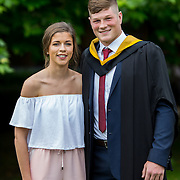 """24.08.2016        <br /> Over 300 students graduated from the Faculty of Science and Engineering at the University of Limerick today. <br /> <br /> Munster rugby player Jack O'Donoghue, Woodstown Co. Waterford was conferred with a Bachelor of Science in Pharmaceutical and Industrial Chemistry at the conferring ceremony. Jack is pictured with his girlfriend, Olwen Kennedy, Dublin.Picture: Alan Place.<br /> <br /> As the University of Limerick commences four days of conferring ceremonies which will see 2568 students graduate, including 50 PhD graduates, UL President, Professor Don Barry highlighted the continued demand for UL graduates by employers; """"Traditionally UL's Graduate Employment figures trend well above the national average. Despite the challenging environment, UL's graduate employment rate for 2015 primary degree-holders is now 14% higher than the HEA's most recently-available national average figure which is 58% for 2014"""". The survey of UL's 2015 graduates showed that 92% are either employed or pursuing further study."""" Picture: Alan Place"""