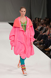© Licensed to London News Pictures. 12/06/2012. London, England. Collection by Shavaun Sahota of Manchester School of Art at the Manchester Metropolitan University. Graduate Fashion Week 2012 at London's Earl's Court. Photo credit: Bettina Strenske/LNP