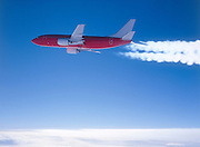 Aerial view of airplane contrails