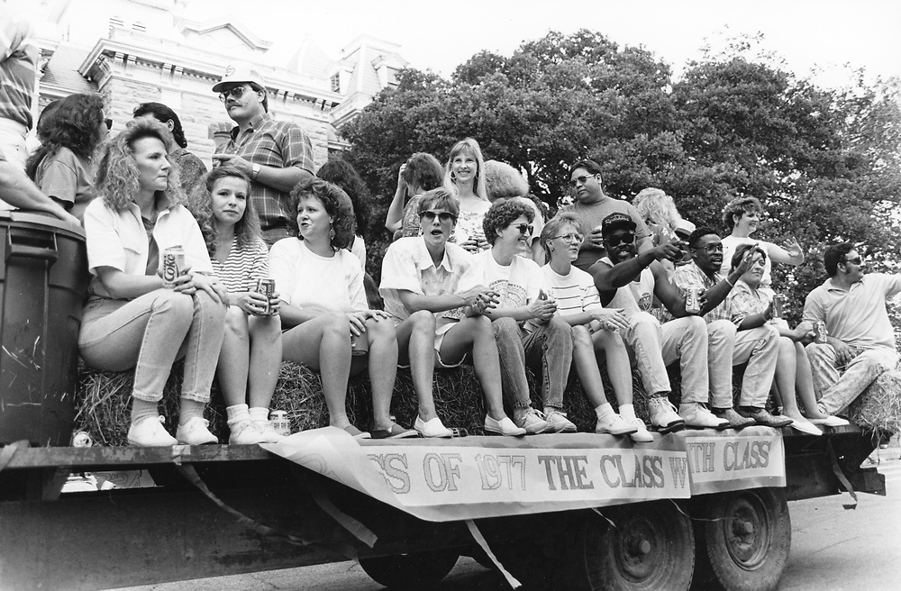 ©1987 Summer class reunion, Class of 1967 in the Chisolm Trail parade in Lockhart, Texas Hispanic community south of Austin