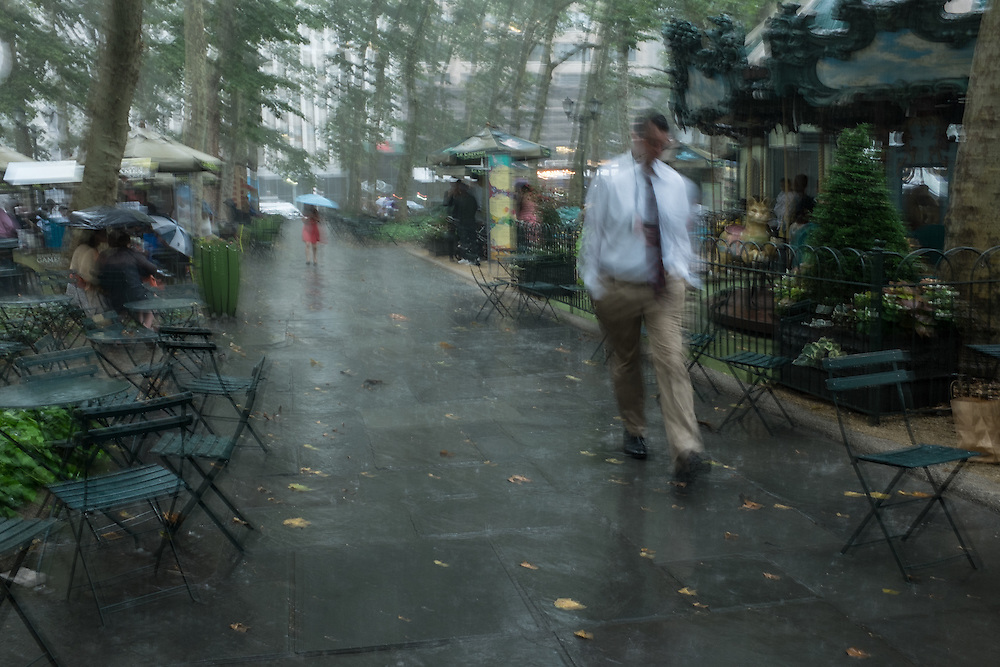 Caught by surprise on a rainy summer day in Bryant Park.