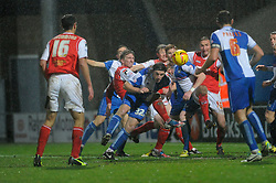 Bristol Rovers' John-Joe OToole heads the ball towards goal - Photo mandatory by-line: Dougie Allward/JMP - Tel: Mobile: 07966 386802 14/12/2013 - SPORT - Football - Morecombe - Globe Arena - Morecombe v Bristol Rovers - Sky Bet League Two