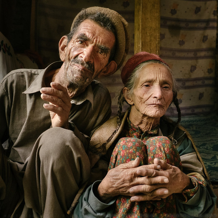 She is blind and he takes care of her—a Wakhi couple poses in Darkot village.