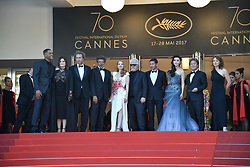 Gabriel Yared, Fan Bingbing, Pedro Almodovar, Jessica Chastain, Paolo Sorrentino, Maren Ade, Park Chan-wook, Agnes Jaoui and Will Smith arriving for the 70th Cannes Film Festival closing ceremony on May 28, 2017 in Cannes, France. Photo by Julien Zannoni/APS-Medias/ABACAPRESS.COM