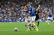 Joe Allen of Stoke City (l) and Ross Barkley of Everton battle for the ball. Premier league match, Everton v Stoke city at Goodison Park in Liverpool, Merseyside on Saturday 27th August 2016.<br /> pic by Chris Stading, Andrew Orchard sports photography.
