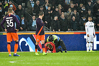 Football - 2018 / 2019 Emirates FA Cup - Quarter-Final: Swansea City vs. Manchester City<br /> <br /> A pitch invader is tackled by stewards before the end of the game , at The Liberty Stadium.<br /> <br /> COLORSPORT/WINSTON BYNORTH