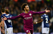 Leroy Sane of Manchester City celebrates after he scores his teams 2nd goal to make it 1-2.  Carabao Cup 3rd round match, West Bromwich Albion v Manchester City at the Hawthorns stadium in West Bromwich, Midlands on Wednesday 20th September 2017. pic by Bradley Collyer, Andrew Orchard sports photography.