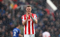 Stoke City's Ryan Shawcross applauds the fans after the game