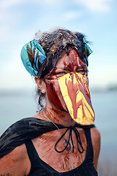 20 April 2015. New Orleans, Louisiana.<br /> Gulf South Rising.<br /> Brooke Schueller joins protesters to mark the 5th anniversary of the disastrous BP Macondo Well blowout in the Gulf of Mexico. The largest marine oil spill in history claimed 11 lives and witnessed an estimated 5 million barrels of oil polluting the Gulf. <br /> Photo; Charlie Varley/varleypix.com