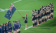 New Zealand during the National Anthems before the third rugby test between the All Blacks and England played at Waikato Stadium in Hamilton during the Steinlager Series - All Blacks v England, Hamiton, 21 June 2014<br /> www.photosport.co.nz