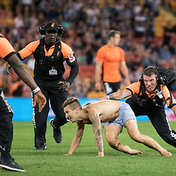 BRISBANE, AUSTRALIA - OCTOBER 7: a fan invades the pitch during the round 1 Hyundai A-League match between the Brisbane Roar and Melbourne Victory at Suncorp Stadium on October 7, 2016 in Brisbane, Australia. (Photo by Patrick Kearney/Brisbane Roar)