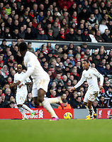 Barclays Premier League, Liverpool V Swansea, Anfield, 17/02/13 .Pictured: Jonathan De Guzman on the attack for Swansea.