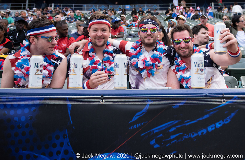 Fans watch the group stages of the 2020 Los Angeles Sevens at Dignity Sports Health Park in Los Angeles, California. February 29, 2019. <br /> <br /> © Jack Megaw, 2020