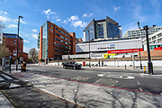 April 7, 2020, London, England, United Kingdom: A general view of the NHS St Thomas' Hospital where British Prime Minister Boris Johnson was moved to intensive care after his coronavirus symptoms worsened in London, Tuesday, April 7, 2020. Johnson was admitted to St Thomas' hospital in central London on Sunday after his coronavirus symptoms persisted for 10 days. Having been in the hospital for tests and observation, his doctors advised that he be admitted to intensive care on Monday evening. The new coronavirus causes mild or moderate symptoms for most people, but for some, especially older adults and people with existing health problems, it can cause more severe illness or death. (Credit Image: © Vedat Xhymshiti/ZUMA Wire)