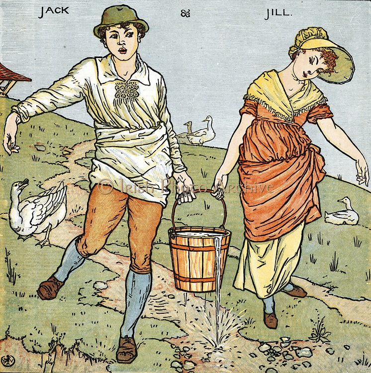 'Jack and Jill/Went up the hill/To fetch a pail of water. Engllish nursery rhyme dating back as far as the first half of the 17th century, Illustration by Walter Crane (1845-1915).'