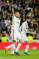 Real Madrid´s Karim Benzema celebrate a goal during 2014-15 Champions League match between Real Madrid and FC Shalke 04 at Santiago Bernabeu stadium in Madrid, Spain. March 10, 2015. (ALTERPHOTOS/Luis Fernandez)