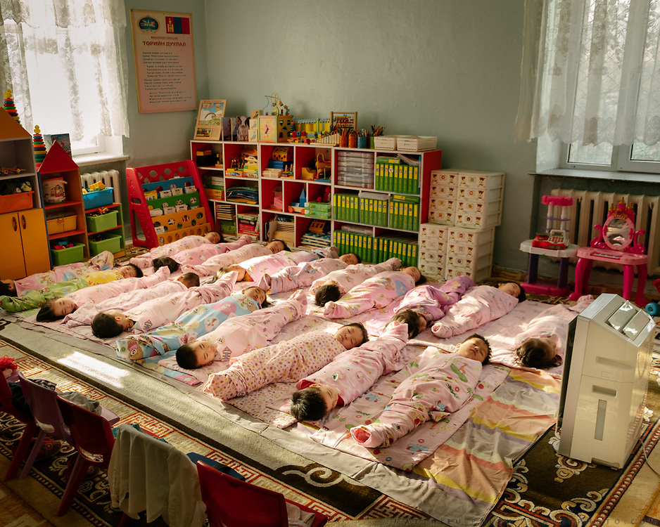Visit during nap time of a Kindergarten in the Bayanzurkh District. Each room is equipped with an air purifier, in an attempt to lower the level of indoor air pollution. Children are especially vulnerable to air pollution.