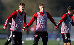 CARDIFF, WALES - Wednesday, October 7, 2020: Wales' Ben Davies (L) and Connor Roberts during a training session at the Vale Resort ahead of the International Friendly match against England. (Pic by David Rawcliffe/Propaganda)