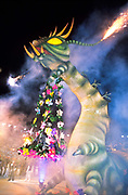 "During the ""Boi Bumba"" Amazon Carnival, a giant Caterpiller float roars into life during the event in Parintins Stadium, Brazil."