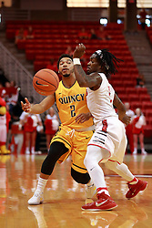 05 November 2016:   Herm Senor II guarded by Paris Lee(1) during an NCAA  mens basketball game where the Quincy Hawks lost to the Illinois State Redbirds in an exhibition game at Redbird Arena, Normal IL