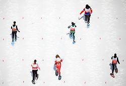 17.03.2017, Ramsau am Dachstein, AUT, Special Olympics 2017, Wintergames, Schneeschuhlauf, Divisioning 100 m, im Bild sechs Athletinnen in Aktion // six athletes on track during the Snowshoeing Divisioning 100 m at the Special Olympics World Winter Games Austria 2017 in Ramsau am Dachstein, Austria on 2017/03/17. EXPA Pictures © 2017, PhotoCredit: EXPA / Martin Huber