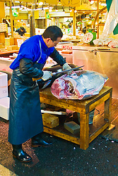 highly skilled wholesale worker, carefully filleting raw bluefin tunas with specially designed Japanese tuna knives, Thunnus sp., Tsukiji Fish Market or Tokyo Metropolitan Central Wholesale Market, the world's largest fish market, hadling over 2,500 tons and over 400 different kind of fresh sea food per day