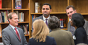 Trustee Greg Meyers, left, Acting US Secretary of Education John King, center, and Houston ISD Superintendent Dr. Terry Grier, right, talk with attendees before a roundtable discussion at Sharpstown High School, January 15, 2016.