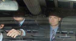 """© London News Pictures. 25/04/2012. London, UK. Adam Smith (right), former aide to Jeremy Hunt  being driven from the Department for Culture Media and Sport in London on April 25, 2012.  Adam Smith  quit   admitting his contact with News Corporation over the BSkyB takeover """"went too far"""". Photo credit : Ben Cawthra /LNP"""