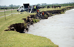 August 9, 2017 - Pakistan - SIALKOT, PAKISTAN, AUG 09: A view of the faster erosion of land near far-off Bajwat .bordering village due to the faster flow of water in River Chenab near Bajwat in Sialkot on .Wednesday, August 09, 2017. (Credit Image: © PPI via ZUMA Wire)