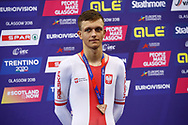 Podium, MenElimination Race, Szymon Krawczyk (Poland) bronze medal, during the Track Cycling European Championships Glasgow 2018, at Sir Chris Hoy Velodrome, in Glasgow, Great Britain, Day 6, on August 7, 2018 - Photo luca Bettini / BettiniPhoto / ProSportsImages / DPPI<br /> - Restriction / Netherlands out, Belgium out, Spain out, Italy out -