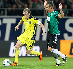 28.07.2011, Keine Sorgen Arena, Ried im Innkreis, AUT, UEFA EL Qualifikation, SV Josko Ried vs Brondby IF, im Bild Michael Krohn-Dehli, (Brøndby IF, Midfield, #23) und Florian Mader, (SV Josko Ried, #10) // during football match between SV Josko Ried (AUT) and Brondby IF (DEN) 1st Leg of Europa League third Qualifying Round, on July 28, 2011 at Keine Sorgen Arena Ried im Innkreis, Austria. EXPA Pictures © 2011, PhotoCredit: EXPA/ R. Hackl