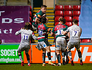 Leicester Tigers No.8 Jasper Wiese catches the kick-off during a Gallagher Premiership Round 7 Rugby Union match, Friday, Jan. 29, 2021, in Leicester, United Kingdom. (Steve Flynn/Image of Sport)