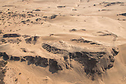 Aerial view, Sand dunes and cliffs, Skeleton Coast, Northern Namibia, Southern Africa