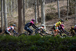 Ilaria Sanguinetti throught the trees at the Liege-Bastogne-Liege Femmes - a 135.5 km road race between Bastogne and Ans on April 23 2017 in Liège, Belgium.