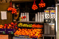 Fresh fruit and vegetable juices at a sidewalk stand, Jaffa, Tel Aviv, Israel.