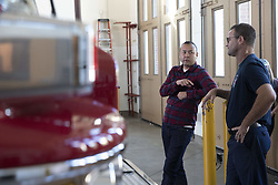 November 2, 2018 - Clovis, California, United States Of America - Fresno County Assistant District Attorney Andrew Janz speaks with a fire fighter while touring a fire station on November 2, 2018 in Clovis, California. Janz is running to unseat Rep Devin Nunes Republican of California. (Credit Image: © Alex Edelman/ZUMA Wire)