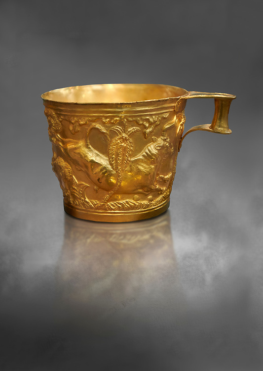 Vapheio type Mycenaean gold cup depicting a wild bull hunt side D, Vapheio Tholos Tomb, Lakonia, Greece. National Archaeological Museum of Athens.  Grey Art Background<br /> <br />  Two masterpieces of Creto - Mycenaean gold metalwork were excavated from a tholos tomb near Lakonia in Sparta in 1988. Made in the 15th century BC, the gold cups are heavily influenced by the Minoan style that was predominant in the Agean at the time. The bull hunt was popular with  Mycenaean  and Minoan artists and symolised power and fertility. The distinctive shape of the cup is kown as 'Vapheio type'. .<br /> <br /> If you prefer to buy from our ALAMY PHOTO LIBRARY  Collection visit : https://www.alamy.com/portfolio/paul-williams-funkystock/mycenaean-art-artefacts.html . Type -   Athens    - into the LOWER SEARCH WITHIN GALLERY box. Refine search by adding background colour, place, museum etc<br /> <br /> Visit our MYCENAEN ART PHOTO COLLECTIONS for more photos to download  as wall art prints https://funkystock.photoshelter.com/gallery-collection/Pictures-Images-of-Ancient-Mycenaean-Art-Artefacts-Archaeology-Sites/C0000xRC5WLQcbhQ