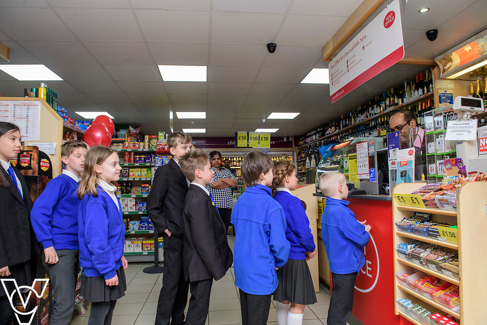 Pictured is Subramaniam Nithaharan serving members of Ormiston Meadows Academy's school council at the new Matley Post Office<br /> <br /> Shailesh Vara MP has cut the ribbon to official opening of the brand new Matley Post Office, part of the Londis Store, Matley, Orton Brimbles, Peterborough. The store is owned by Subramaniam Nithythasan and Subramaniam Nithaharan.<br /> <br /> Date: April 5, 2019