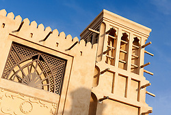 Traditional architecture at Souq Madinat in Jumeirah district of Dubai in United Arab Emirates