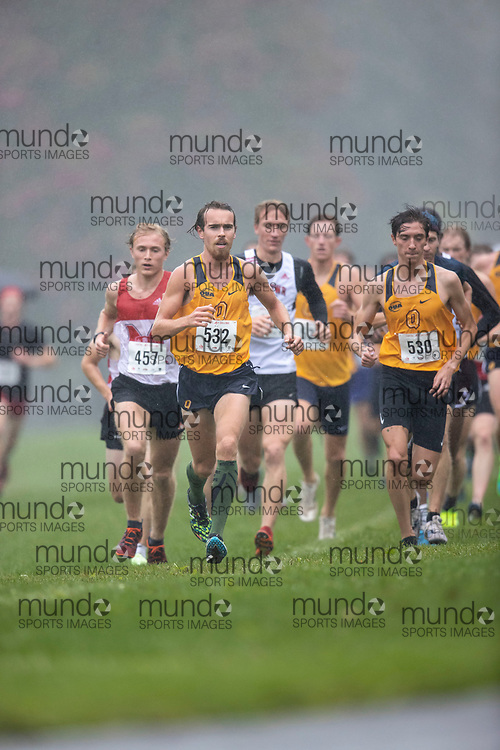 If you post on social media please tag @mundosportimages on Instagram or tag Mundo Sport Images on Facebook.<br /> <br /> (Ottawa, Canada---02 October 2021)  Will  Pidduck (Queen's Gaels) and  Roman  Mironov (Queen's Gaels) competing in the University Men's / Open Men's race at the  2021 Capital Cross Country Challenge held at Mooney's Bay in Ottawa.  Photograph 2021 Copyright Sean Burges / Mundo Sport Images