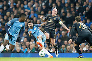 Manchester City's Nolito (9) and Celtic's Scott Brown (8) during the Champions League match between Manchester City and Celtic at the Etihad Stadium, Manchester, England on 6 December 2016. Photo by Craig Galloway.