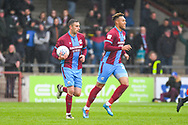Kyle Wootton of Scunthorpe United (29) scores a goal and celebrates to make the score 1-3 during the EFL Sky Bet League 1 match between Scunthorpe United and Bradford City at Glanford Park, Scunthorpe, England on 27 April 2019.