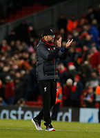 Football - 2019 / 2020 UEFA Champions League - Group E: Liverpool vs. Napoli<br /> <br /> Liverpool manager Jurgen Klopp applauds the Kop at the end of the game, at Anfield.<br /> <br /> COLORSPORT/ALAN MARTIN