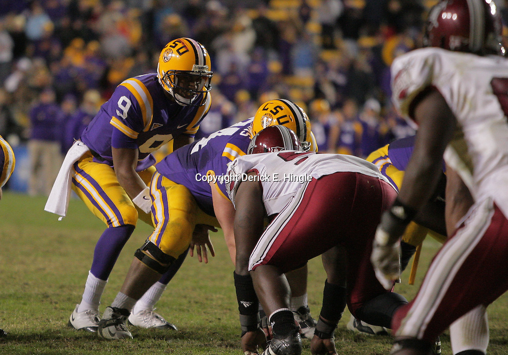 15 November 2008: LSU quarterback Jordan Jefferson (9) under center during the LSU Tigers 40-31 come from behind victory over the Troy Trojans at Tiger Stadium in Baton Rouge, LA.
