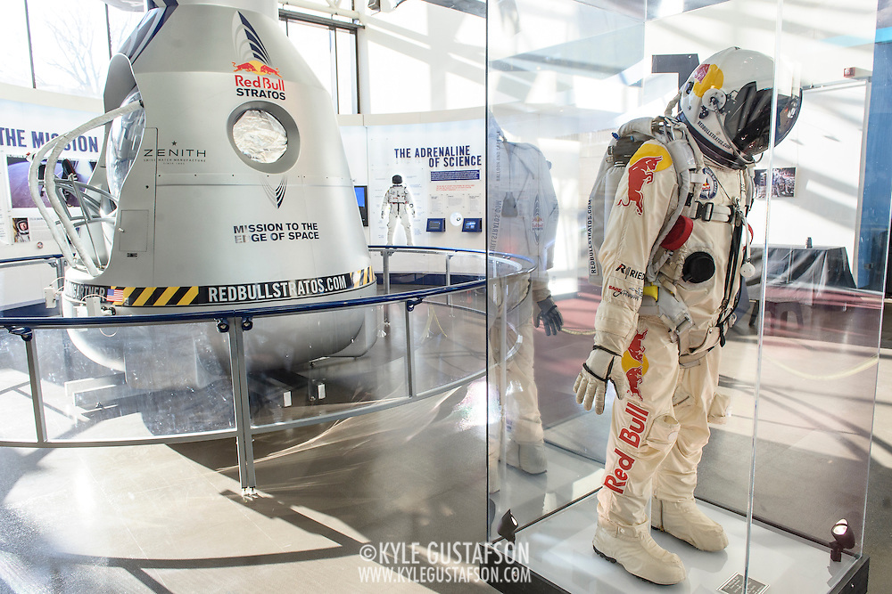 The launch capsule from the Red Bull Stratos project and Felix Baumgartner's space suit, on display at The Smithsonian National Air and Space Museum in Washington, D.C., USA on 1 April, 2014.