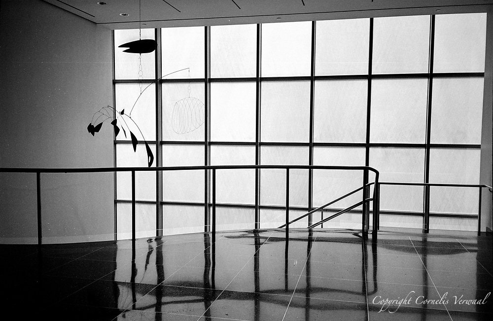 """Calder Mobile """"Lobster Trap and Fish Tail"""" (1939) at the top of staircase, MoMa (Museum of Modern Art) New York, 2007.<br /> Olympus XA, Ilford XP2-400"""