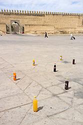 Soda bottles in plaza, Fes al Bali medina, Fes, Morocco